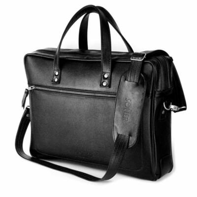 Solier férfi bőr laptop táska SL05 FEKETE