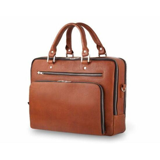 Valódi bőr laptop táska világosbarna Solier Gold