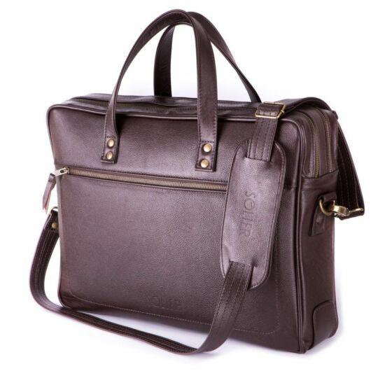 Solier férfi bőr laptop táska  SL05 kávé barna