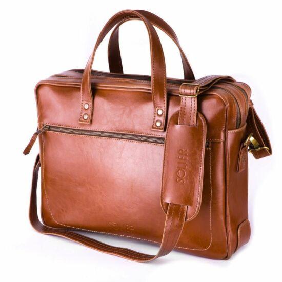 SOLIER férfi bőr laptop táska SL05 világos barna