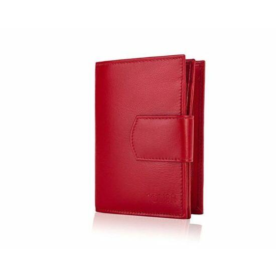 Solier női bőr pénztárca P021 piros