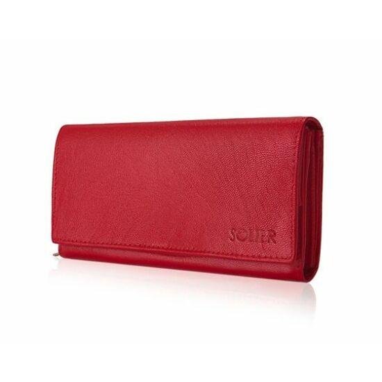 Elegáns női bőr pénztárca Solier P26 piros
