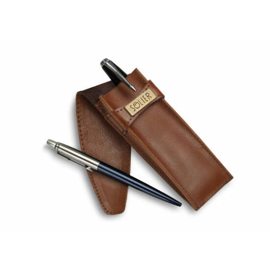 Bőr férfi tolltartó SA12 világos barna